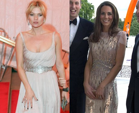Kate Moss and Kate Middleton wearing silver gowns