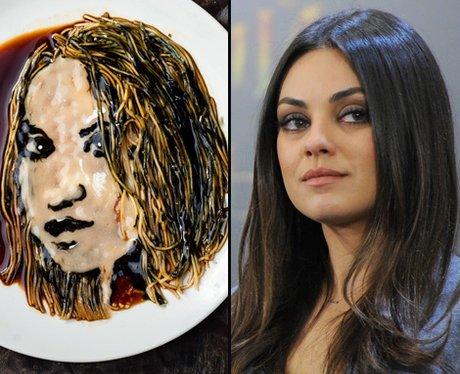 Mila Kunis noodle art