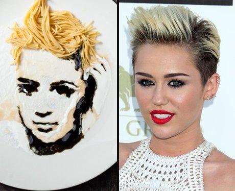 Miley Cyrus noodle art