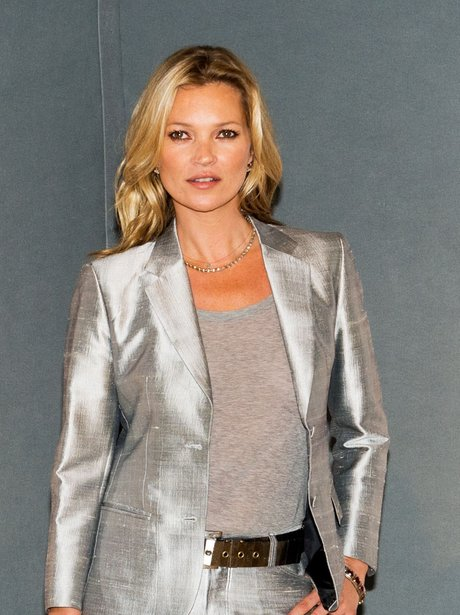 Kate Moss in a silver suit at The Collection photocall