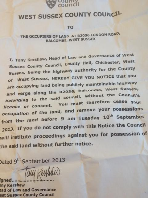 The notice given to protestors