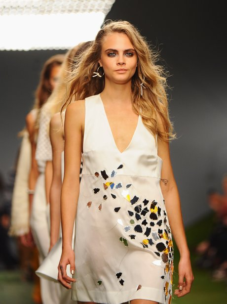 Cara Delevingne on the catwalk London Fashion Week