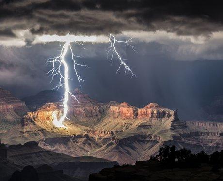 Lightning striking the Grand Canyon