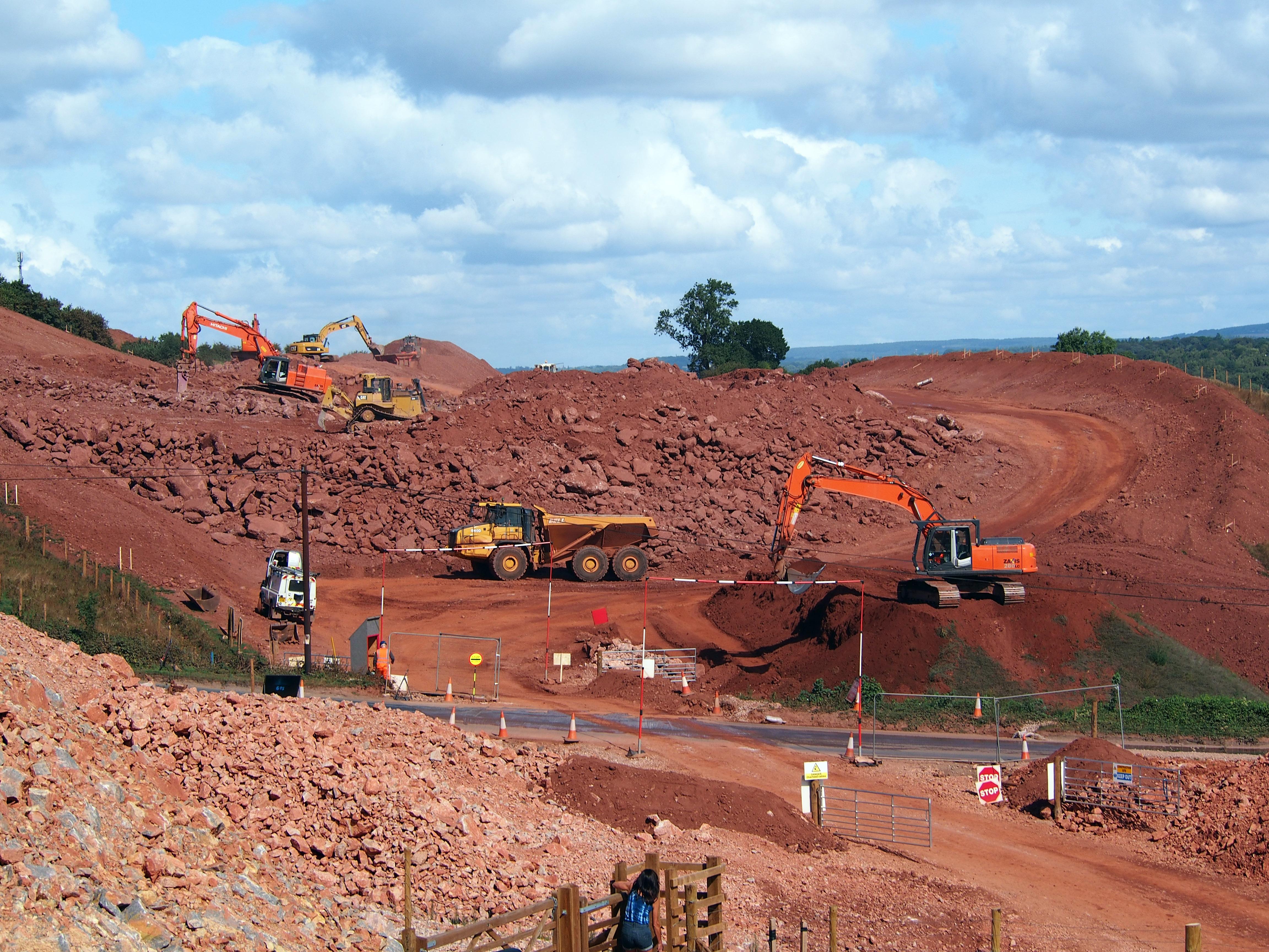diggers, roadworks