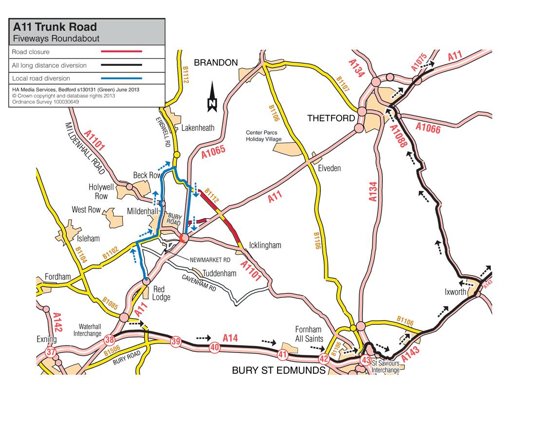 A11 fiveways diversion dual