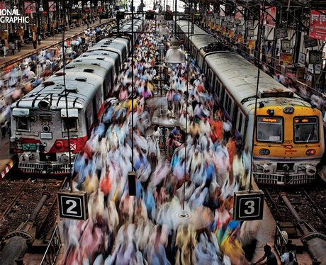 People in Churchgate Station, India