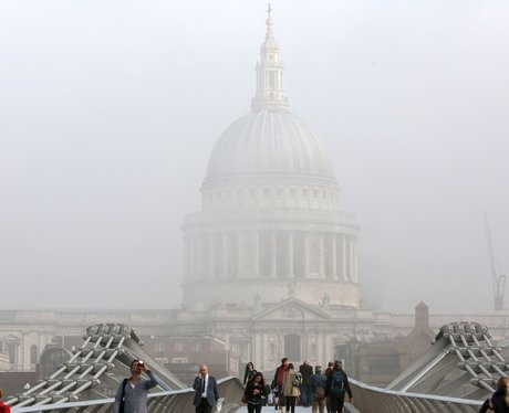 St. Pauls Cathedral, hidden by fog, in London.