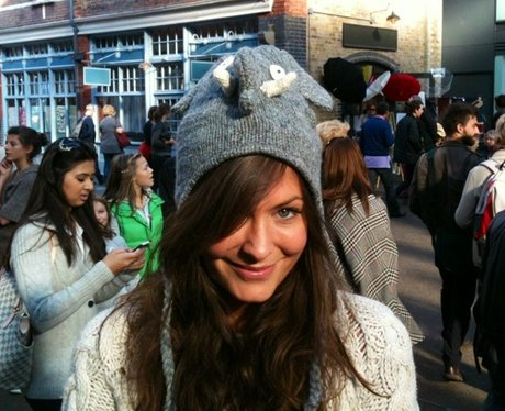 Lucy Horobin wearing an elephant hat