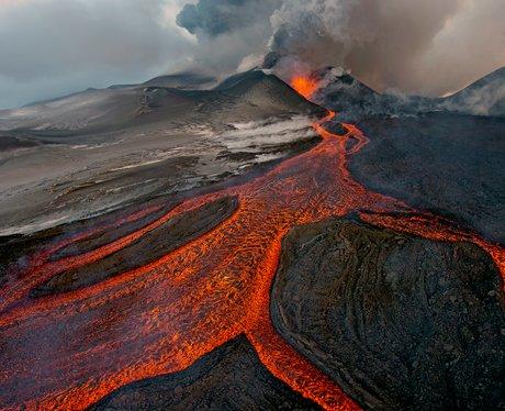 A smoking volcano