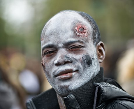 a person dressed as a zombie
