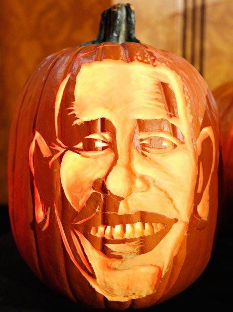 A pumpkin carving of Barack Obama's face