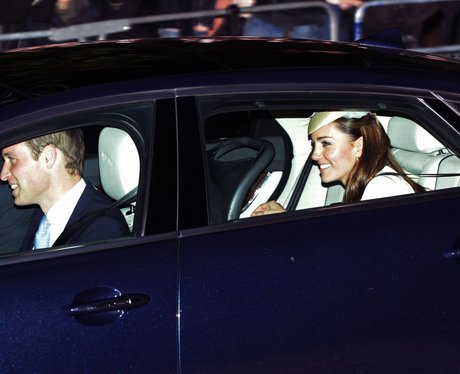 Prince William and Kate Middleton leave in a car