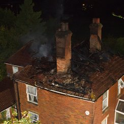 Roof Fire Started During Lightning Storm