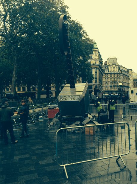 a giant hammer in Leicester Square