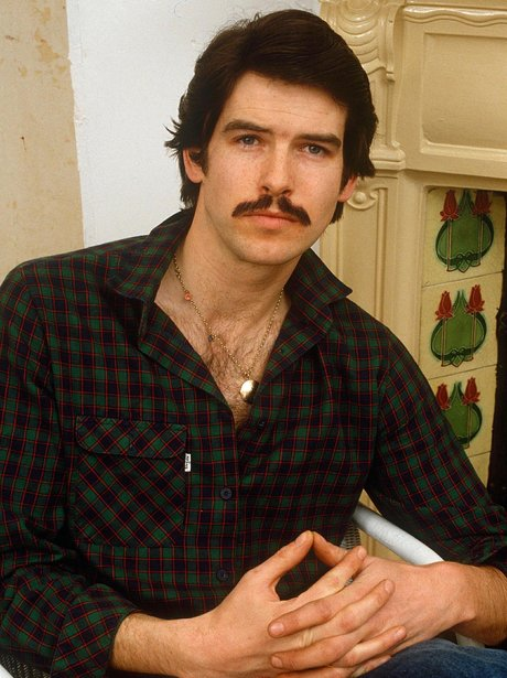 Pierce Brosnan with a moustache