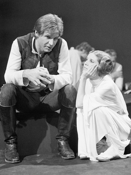 Harrison Ford and Carrie Fisher on set Star Wars