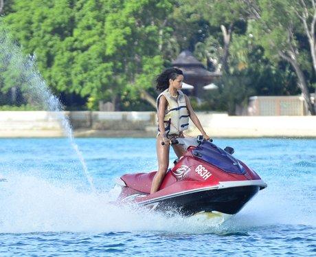 Rihanna on a jetski in Barbados