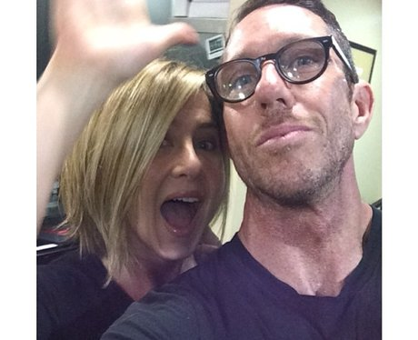 Jennifer Aniston with stylist and shorter hair