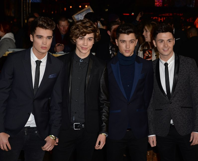 Union J in black suits on the red carpet