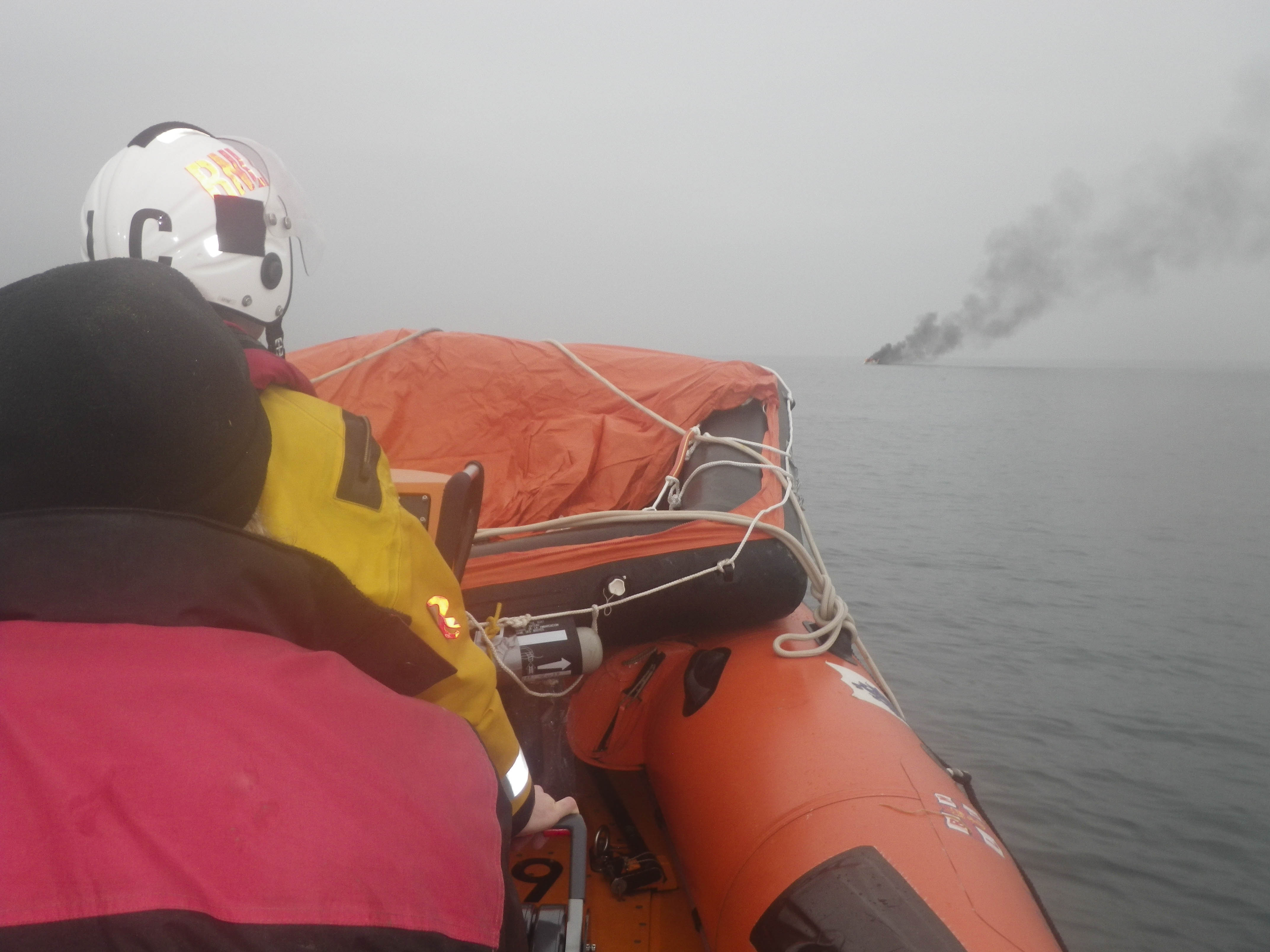 RNLI picture of burning boat