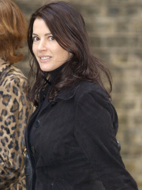 Nigella Lawson dressed in black while out and about