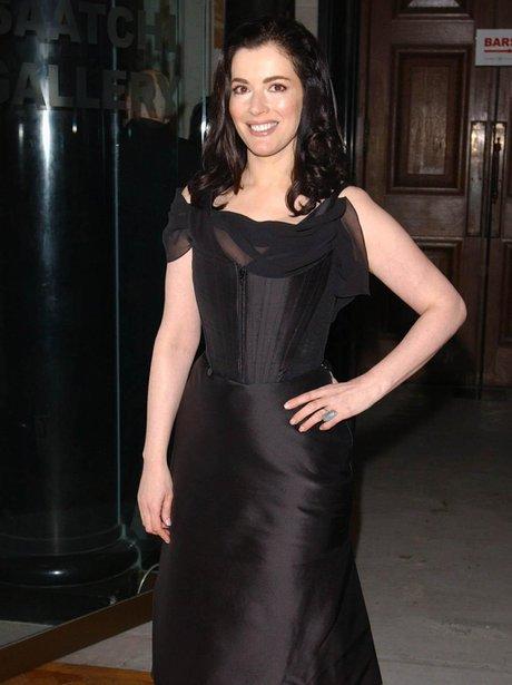 Nigella Lawson in structured black dress