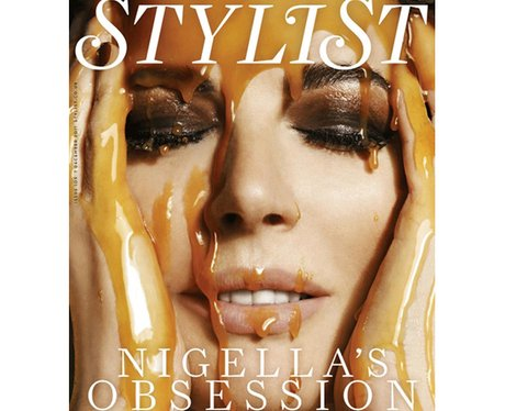 Nigella Lawson covers Stylist Magazine covered in caramel