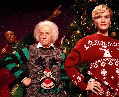 waxworks in christmas jumpers