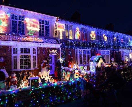 lit up house