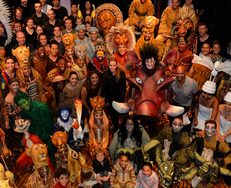 The cast of The Lion King with Angelina Jolie and family