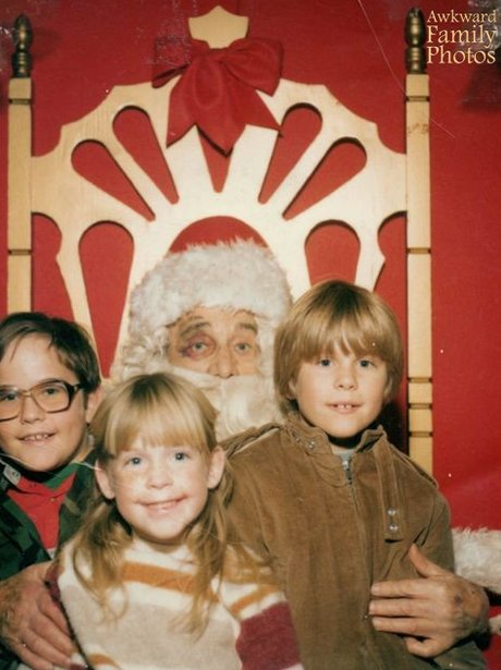 Santa and three children