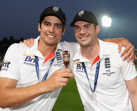 James Anderson and Alistair Cook with the Ashes