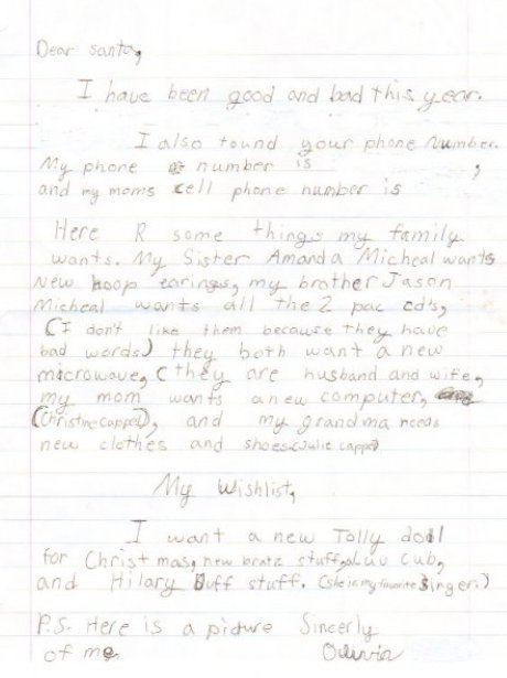 Throwback thursday real letters to santa heart 2 olivia takes an honest approach spiritdancerdesigns Images