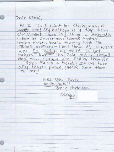 A hand written letter to Santa.