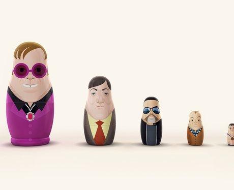 matryoshkas depicting five British gay icons such as Elton John