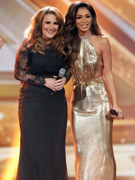 Nicole Scherzinger with Sam Bailey performing on The X Factor
