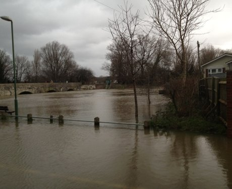 The River Stour flooded at Iford Bridge