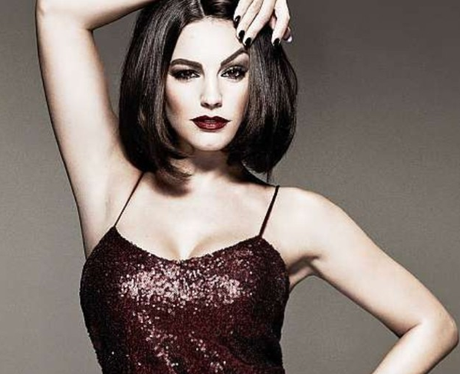 Kelly Brook in sequinned 60s style dress and bobbed hair