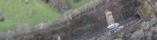 Aerial view of landslip