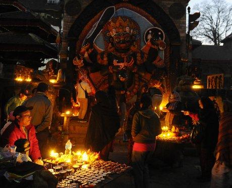 Nepalese devotees pray