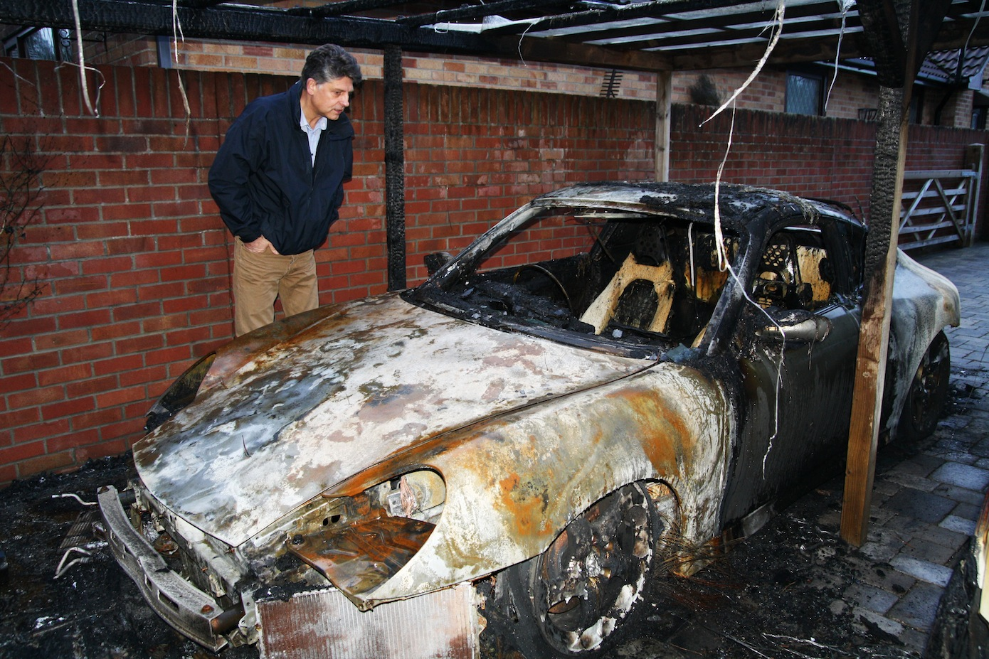 Andrew Towning's Porsche has been destroyed