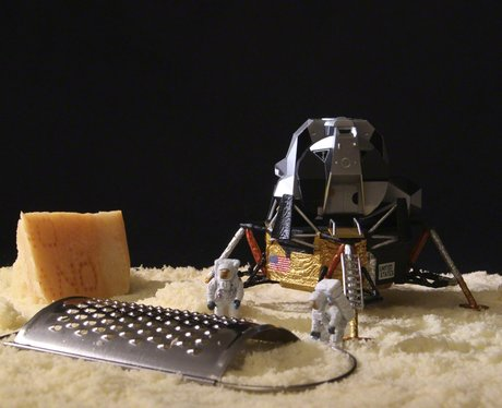 Antonio Magliocchetti and Stefano Adorinni's miniature world creation showing a moon made of cheese