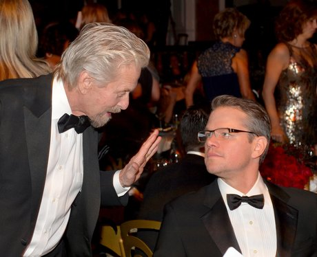 Michael Douglas and Matt Damon in tuxedos