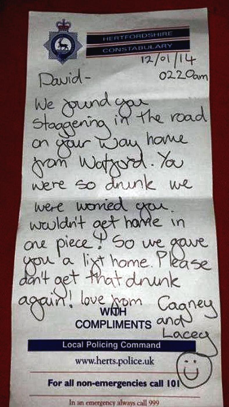 police note to drunk man Watford