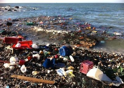 Rubbish washing up on Chesil Beach, Dorset