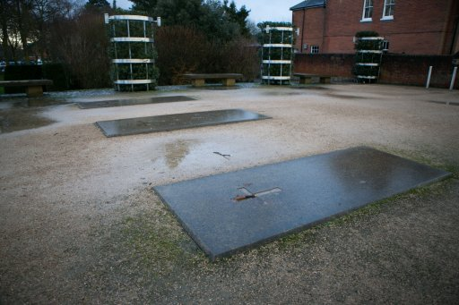 Three graves stones mark the site where Hyde Abbey