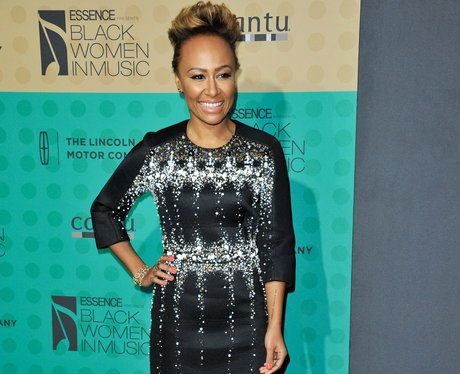 Emeli sande in a black and glittery dress