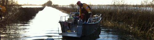 Fuel loaded on boat in flooded Somerset