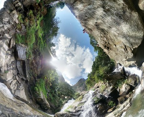 Panoramic App photo of a waterfall