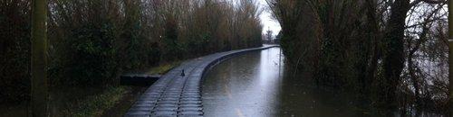 Pontoon in flooded Muchelney